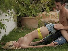 Hot model's tight pussy destroyed on grass
