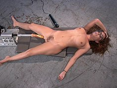 Pounded hard by massive robotic-fuck toy