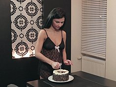 Surprise morning cake and sex for nick's birthday
