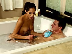 Hot bath with alluring young thing with nice tits