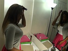 Amusing black babe loves starring into the mirror