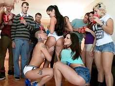 Horny chicks are engulfing wang simultaneously