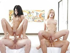 Sadie and Bailey gets their first every group fuck