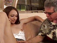 The queen of sex spreads for old guy