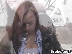 Fucking broke busty coed outdoors by bus stop