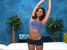 Stunning girlfriend ready for her massage therapy