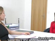 Dark haired model eats Euro female agent