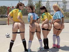 Soccer girls team sharing one cock