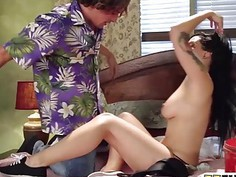 Kinky brunette pornstar gets reamed hard