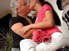 Asian teen old men After an tedious lesson the two get highly