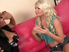 Hot Latina pornstar and blonde babysitter fucked in threesome