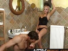 Blonde TaraPink footjob in bathroom