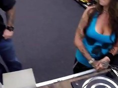 Sexy and horny babe gets fucked in the office for cash