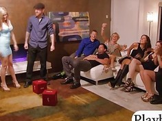 Group of couples enjoy nasty big orgy in the red room