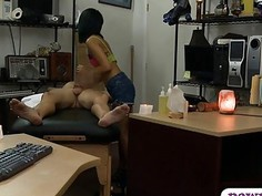 Skinny asian drilled by nasty pawn guy at the pawnshop