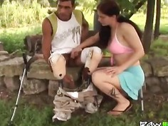 Handicapped man fucking brunette teen outdoor