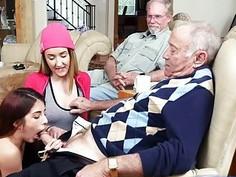 Teen sluts Gigi and Sally fucks with old neighbors
