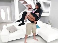 Spectacular ebony teen Brittney White getting banged by a big white cock