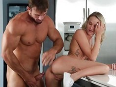 Step dad fucking Emma Hixs shaved pussy