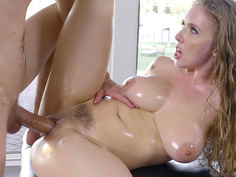 Lena Paul takes club-like cock on the massage table