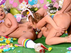 Celebrating Easter with two busty MILFs