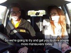 Super hot redhead Ella Hughes fucked in car
