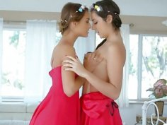 Luscious lesbians Lily Adams and Uma Jolie fingerfucking