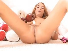 Glamorous babe is playing with sex toys for u here