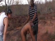 African slut spanked and fucked hard in a threesome