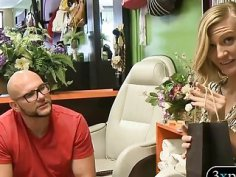 Skinny blonde girl pounded in the salon for some money