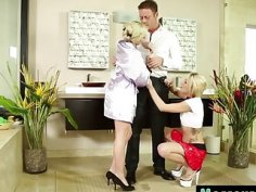 Blonde masseuse sharing long schlong with mouths