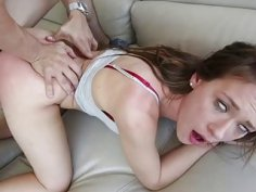 Little teen slut gets abased and roughly pounded