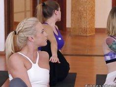 Yoga coach bangs two lesbian hotties