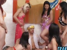 Six hot trannies enjoy gang banging horny stud