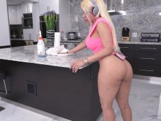 Luna Star in sexy outfit is cleaning in the kitchen