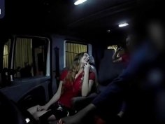 Slutty brunettes blowing and riding cock in truck