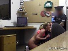 Busty blonde bangs cop in empty office