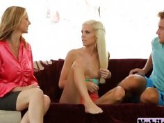 Slutty stepmom Julia Ann learns young Halle Von how to suck a hard cock