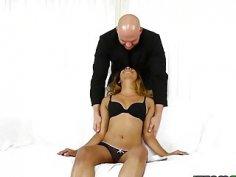 JMac feeds Katalina Mills his huge cock deep in her throat