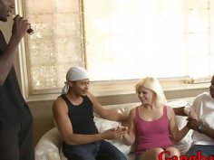 Blonde slut Alice Frost dped by many huge black cocks