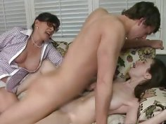 Busty mature stepmom threesome session