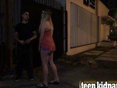 Blonde teen slut Lilly Sapphire getting slammed hard in dark street alley