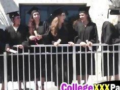 Hot blonde college slut getting slammed hard on the graduation day