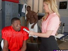 Hot blonde milf Cheri Deville auditions to be the team slut