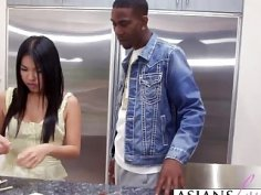 Petite asian girl riding black dude