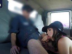 Brunette sluts share throbbing cock in tow truck