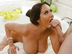 Bathroom fucking for the busty mom and a hung boy