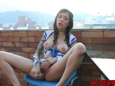ALIVEGIRLnet Barely 18 Innocent Enna masturbates on the balcony of a skyscraper