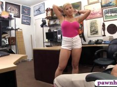 Booby blonde babe rammed at the pawnshop