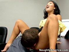 Asian horny slut Asa Akira sucks dick delightfully